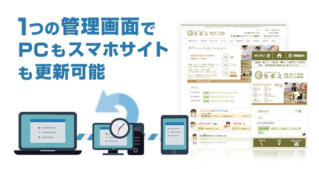 1つの管理画面でPCサイトとスマホサイトの更新が可能
